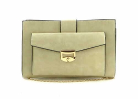 B201306 Turn-Lock Accent Large Fashion Clutch Beige